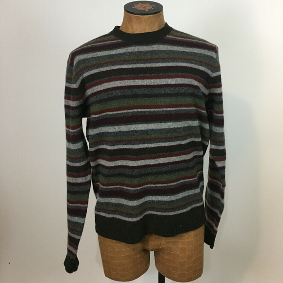 J Crew Mens M stripe Lambs wool sweater pullover